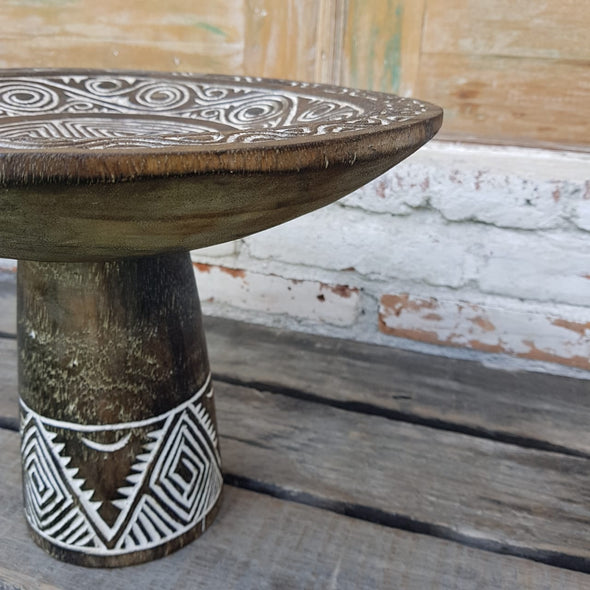 Big Tribal Wooden Dulang Standing Tray - Canggu & Co