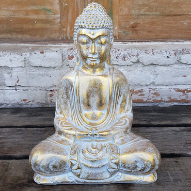 Antique Large Resin Sitting Buddha Statue - Canggu & Co