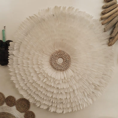 White Hanging Feather Juju with Sea Shell - Canggu & Co