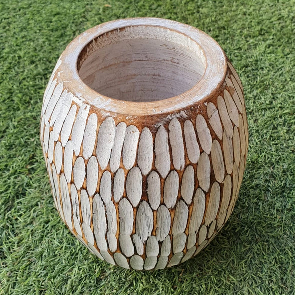 Small Light Wooden Vase - Canggu & Co