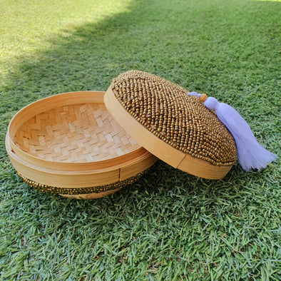 Large Round Bead & Bamboo Boxes With Tassel - Canggu & Co