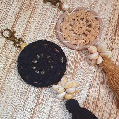 Small Shell and Tassel Macrame Dreamcatcher Keychains - Canggu & Co