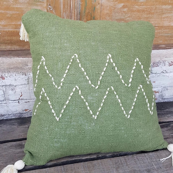 Green Raw Cotton Cushions With Zig Zag Pattern And Tassels - Canggu & Co