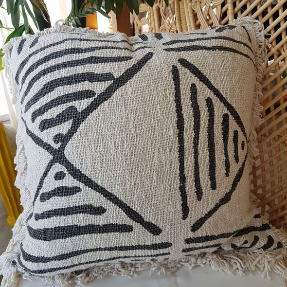 White Cotton Cushion With Black Hand Drawn Motifs And Fringe - Canggu & Co