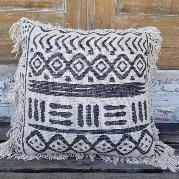 Natural Cotton Cushion With Black Abstract Motifs And Fringe - Canggu & Co