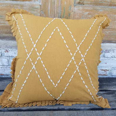 Mustard Colored Linen Cotton Cushion With Ruffle Fringe - Canggu & Co