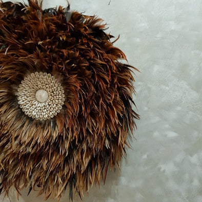 Brown Hanging Feather with Sea Shell - Canggu & Co
