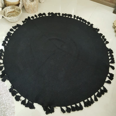 Large Round Hand Knitted Cotton Rugs With Tassels - Canggu & Co