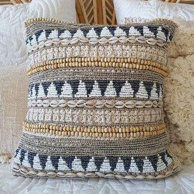 Macrame Cushion With Stunning Shell and Bead Pattern - Canggu & Co