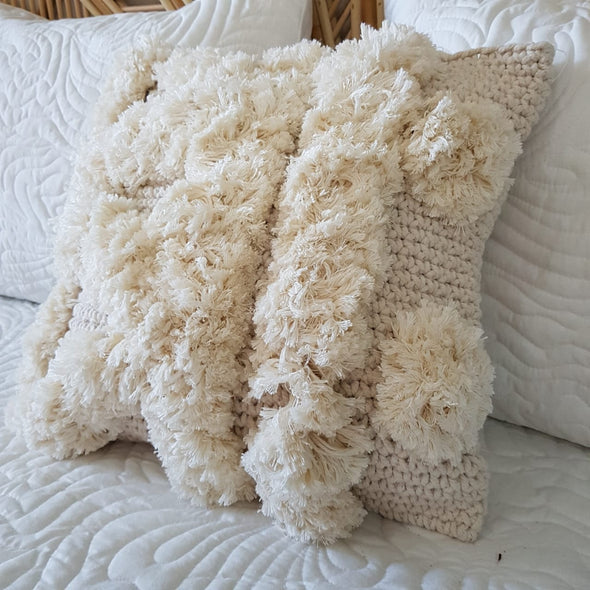 Knitted Macrame Cushion With Fluffy Soft Poms - Canggu & Co