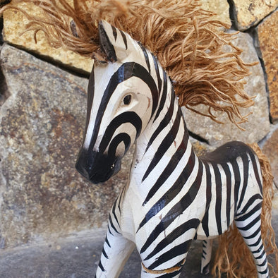 Wooden Carved Black & White Baby Zebras - Canggu & Co