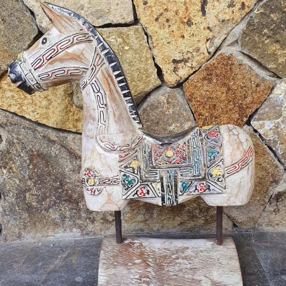 Carved Wooden Horse On Stand Statue - Canggu & Co