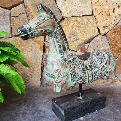 Antique Green Carved Wooden Horse On Stand - Canggu & Co