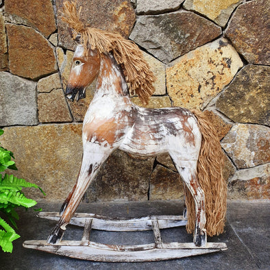 Antique Carved Wooden Rocking Horses With Manes - Canggu & Co