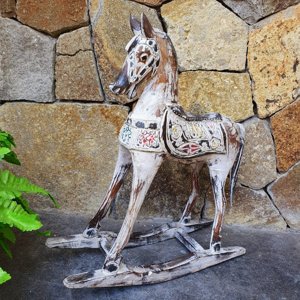 Carved Antique Wooden Rocking Horses - Canggu & Co