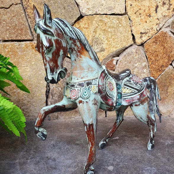 Antique Green Carved Wooden Prancing Horse - Canggu & Co