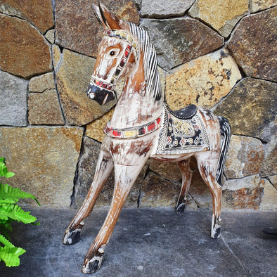 Carved Wooden Antique Horse - Canggu & Co