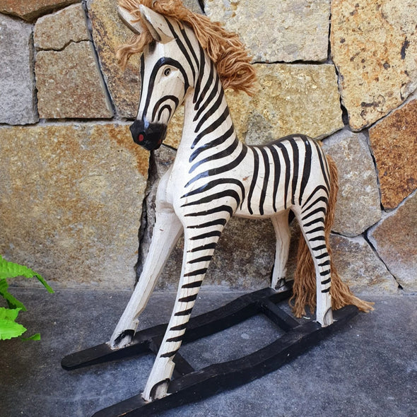 Carved Wooden Rocking Baby Zebra - Canggu & Co