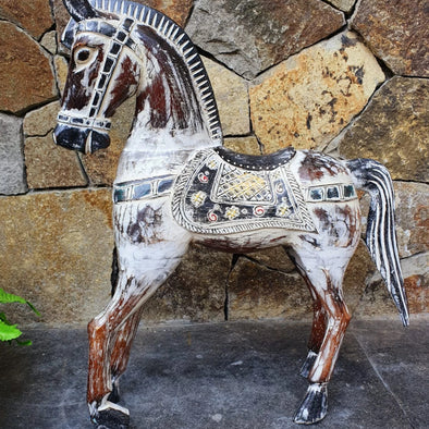 Antique Large Carved Wooden Horse - Canggu & Co