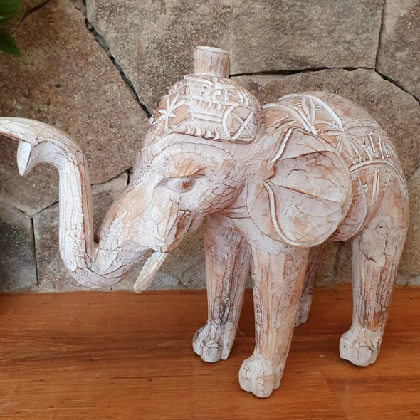 Large Carved Brown Wash Wooden Elephants - Canggu & Co