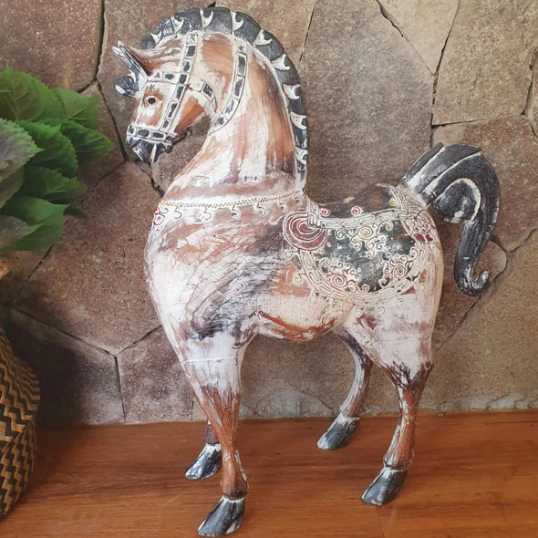 Tall Antique Carved Wooden Horse - Canggu & Co