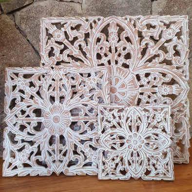 Carved Square White Wash Wooden Panels - Canggu & Co