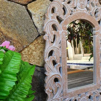 Antique Carved Arched Wooden Mirror - Canggu & Co