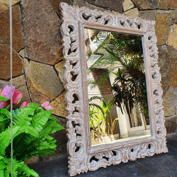 Large Antique Ornate Carved Wooden Mirror - Canggu & Co