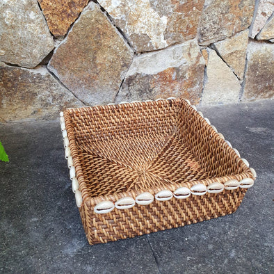 Square Rattan Tray Sets With Cowrie Shells - Canggu & Co