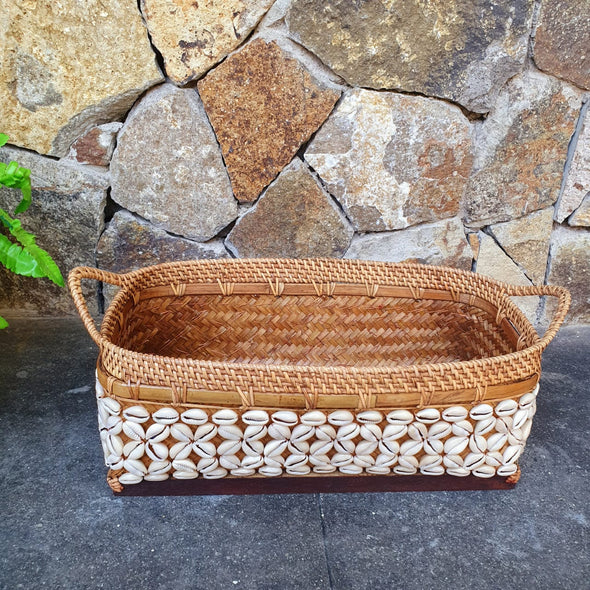 Brown Or Whitewash Rattan & Bamboo Basket Trays With Handles - Canggu & Co