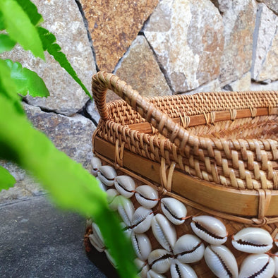 Rattan, Bamboo & Shell Basket Trays With Handles