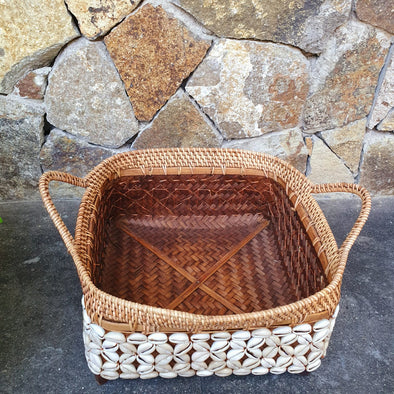 Rattan, Bamboo & Shell Basket Trays With Handles - Canggu & Co