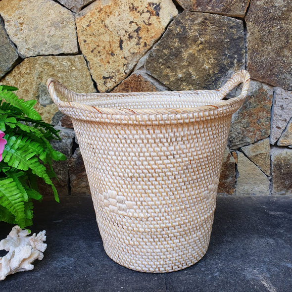 Round Rattan Baskets With Handles - Canggu & Co