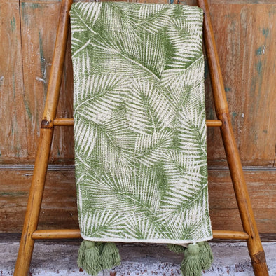 Tropical Palm Motif Raw Cotton Throw With Tassels - Canggu & Co