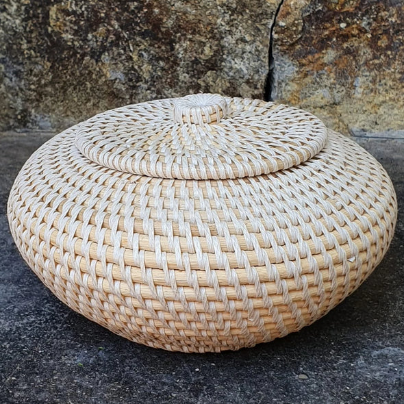 Round Natural Rattan Bowl With Lid - Canggu & Co