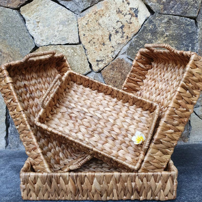 Natural Woven Banana Leaf Tray Sets - Canggu & Co