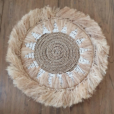 Natural Round Raffia and Grass Straw Placemat - Canggu & Co