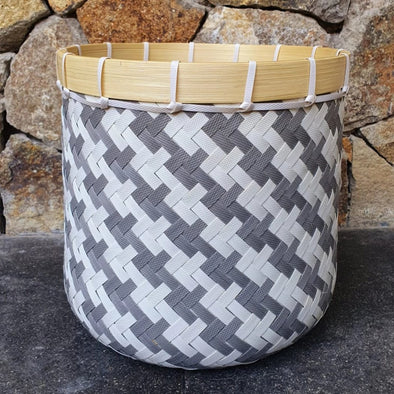 Round Grey and White Bamboo Baskets - Canggu & Co