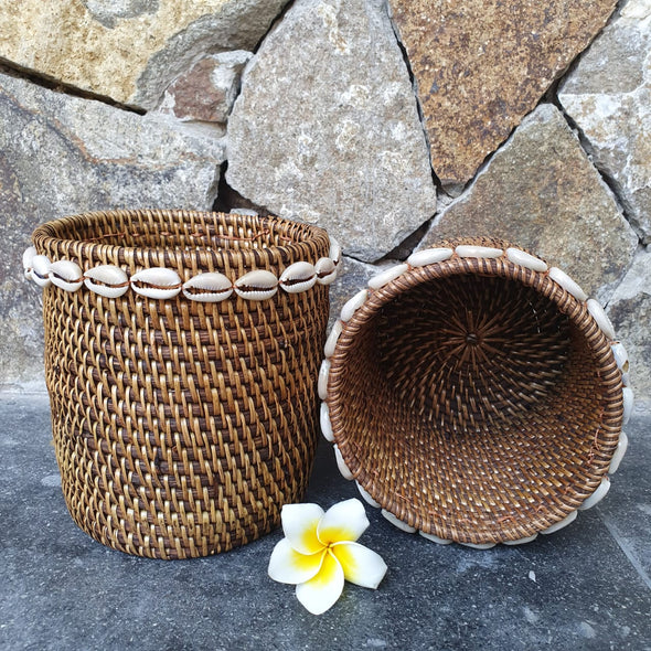 Small Rattan Boxes With Shells - Canggu & Co