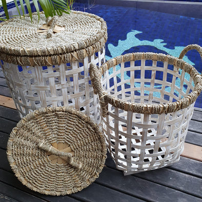 Grey & White Bamboo Laundry Style Baskets With Lid - Canggu & Co