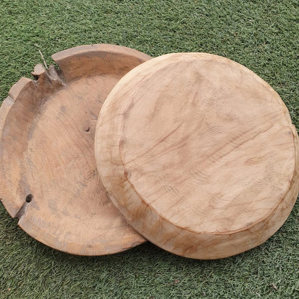 Large Natural Wooden Plates - Canggu & Co