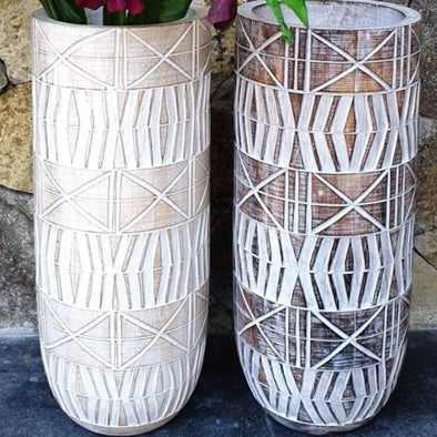 Rustic Wooden Tribal Pots - Canggu & Co