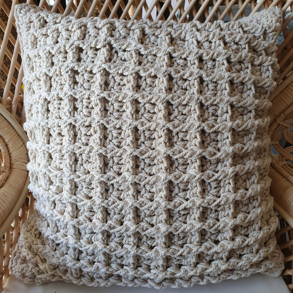 Natural Woven Macrame Cushion - Canggu & Co