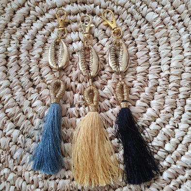 Brass Cowrie Shell Key Chain With Tassels