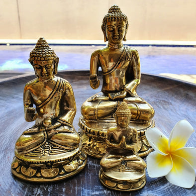 Golden Brass Meditating Buddhas - Canggu & Co
