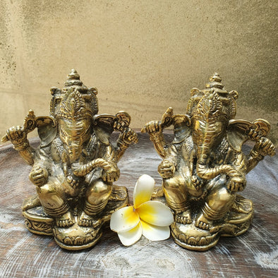 Golden Brass Ganesha Statues - Canggu & Co