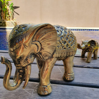 Mother And Child Elephants Brass Decor - Canggu & Co