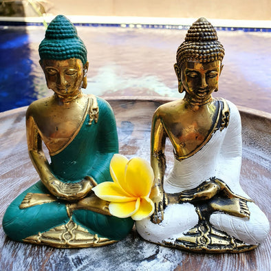 Colourful Golden Brass Meditating Buddhas