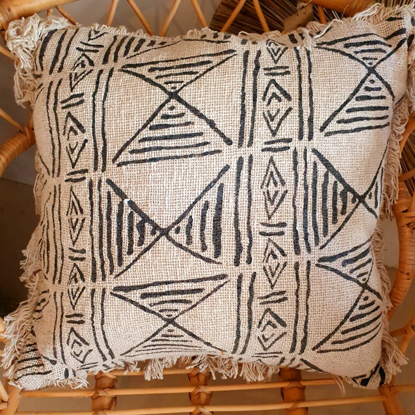 Natural Raw Cotton Cushions With Boho Motifs And Fringe