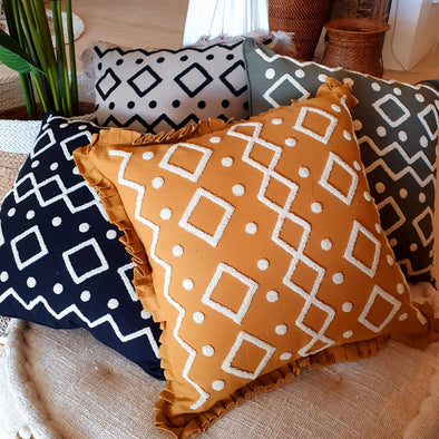 Embroided Motif Linen Cotton Cushion